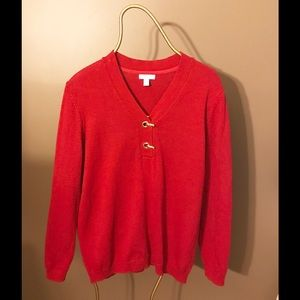Charter Club Red Sweater with gold decor.
